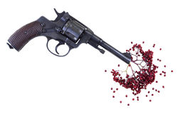 Gun with berries like blood Stock Photography