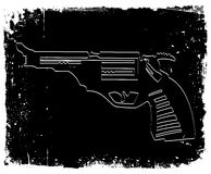 Gun on black grunge background. Vector Stock Photos