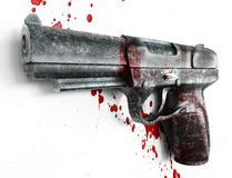 Gun & blood. Old Gun scratched in blood on a white background Royalty Free Stock Photo