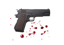 Gun with blood stains Stock Photos