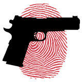 Gun and bloody fingerprint Royalty Free Stock Photography