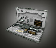 Gun in the briefcase 3d render on a gradient background. Image Stock Photos
