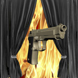 Gun with bright black drapery Royalty Free Stock Photography