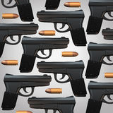 Gun And Bullet Background. For legal social issues and firearm laws concept as a generic three dimensional handgun and bullets as a symbol for revolver owners Royalty Free Stock Image