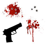 Gun with bullet holes and blood. Isolated on white Royalty Free Stock Photography