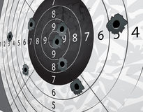 Gun bullet`s holes. On paper target in perspective Royalty Free Stock Photography