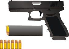 Gun and bullets stock image