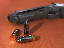 Gun and bullets. Some bullets and an handgun on a wood surface. Digital illustration Royalty Free Stock Photo