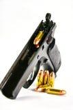 Gun and Bullets. Black Guns and ammunition, Bullets Stock Image