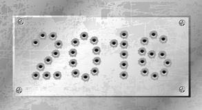 2016 of gun bullets holes. Eps 10 Royalty Free Stock Photography