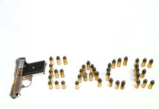 Gun and bullets spell Peace Royalty Free Stock Photography
