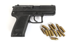 Gun with bullets. With white background Stock Photography