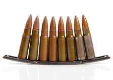 Gun bullets  on white Stock Photo