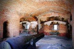 Gun Cannon In Bunker Stock Photo