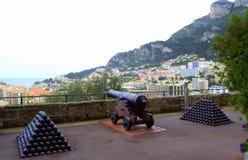 Gun cannonballs and scenic view,Monaco Royalty Free Stock Image
