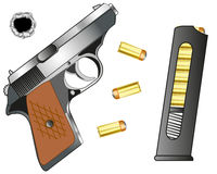 Gun and cartridge clip with patron Stock Images