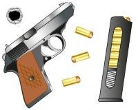 Gun and cartridge clip with patron. Weapon gun and cartridge clip with patron on white background Stock Images