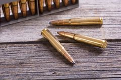 Gun cartridge 8mm caliber Stock Photos