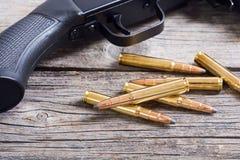 Gun cartridge 8mm caliber. Bullets . Gun cartridge 8mm caliber background Stock Photography
