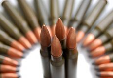 Gun cartridges stock image