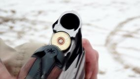 Gun is charging.  stock video footage