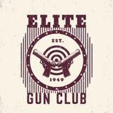 Gun club vintage emblem, print with pistols Stock Images