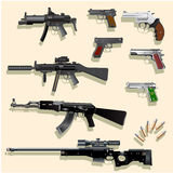 Gun collection 3D Royalty Free Stock Image