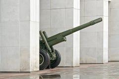 Gun between the columns of the museum of the Great Patriotic War Stock Photo