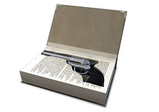 Gun Concealed In A Book Stock Image