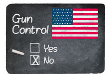 Gun Control choice using chalk on slate blackboard Royalty Free Stock Image