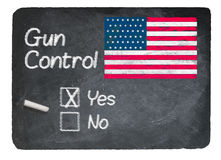 Gun Control choice using chalk on slate blackboard Royalty Free Stock Photos