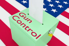 Gun Control concept. 3D illustration of Gun Control script on a ballot box, with US flag as a background Royalty Free Stock Image