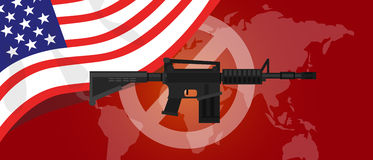 Gun control m16 riffle anti war america USA flag Stock Photography
