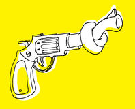Gun control or pistol with tangled barrel Stock Photography