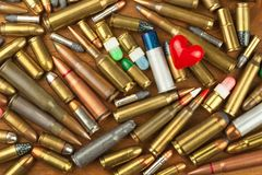 Gun control rights weapon. Different types of ammunition. The right to ownership of guns for defense. Gun control rights weapon. Different types of ammunition royalty free stock photo