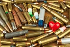 Gun control rights weapon. Different types of ammunition. The right to ownership of guns for defense. Gun control rights weapon. Different types of ammunition stock image