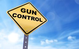Gun control sign. On blue sky background,3d rendered Stock Photos