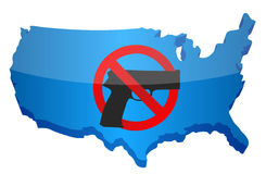 Gun control us concept. Illustration design over white Royalty Free Stock Photos