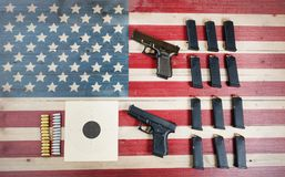 Gun control in USA and constitutional laws. Right to Bear Arms in United States of America- Gun Control laws and US Constitution Stock Photography