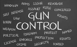 Gun Control word cloud. Written on a chalkboard Royalty Free Stock Images