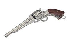 Gun cowboy firearm. Gun cowboy with wood handle classical firearm. 3D graphic Stock Image