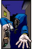 Gun crime. A hooded figure with a hand gun is committing a gun crime by mugging someone in a dark alleyway. eps version allows easy edit and allows figure to be Royalty Free Stock Images