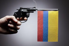 Gun crime concept of hand pistol stock image