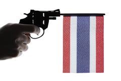 Gun crime concept of hand pistol Stock Photos