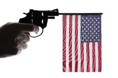Gun crime concept of hand pistol Stock Images