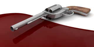 Gun Crime Scene. A revolver lying next to a pool of blood Stock Photography