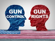 Gun Debate Security Concept. Gun debate as the right to control firearms laws versus the constitutional rights of owners of guns as a political American argument Stock Photography