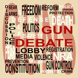 Gun Debate Word Cloud. Words depict the controversial gun debate; can be used as a background, stamp, or brush in Photoshop royalty free illustration