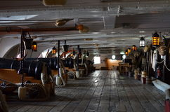 Gun deck of HMS Victory. Royalty Free Stock Image