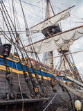 Gun deck and mastst of tall ship Gotheborg Royalty Free Stock Photography